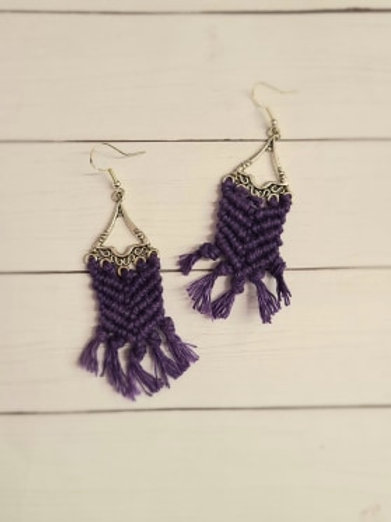 PURPLE MACRAME Dangle Earrings