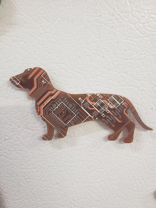 Recycled circuit board magnet - daschund / weiner dog