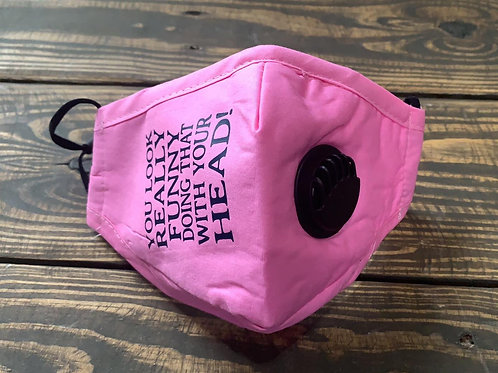 FUNNY FACE MASK with Valve-Pink with navy blue