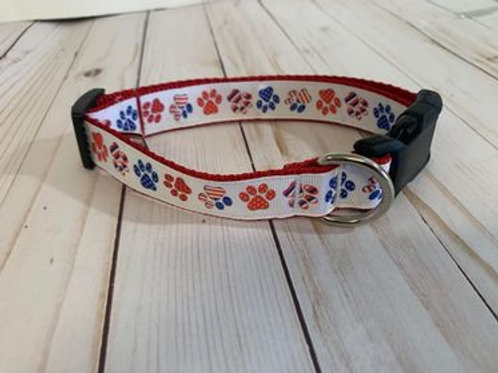 Medium Dog Collar - Red White Blue paws