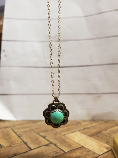 Turquoise flower - sterling silver necklace