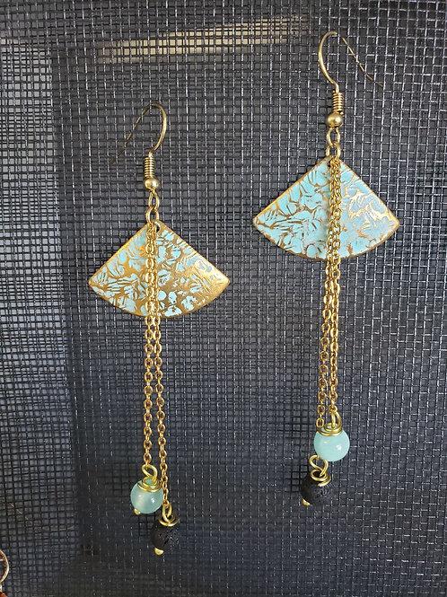 Diffuser Earrings - gold fans