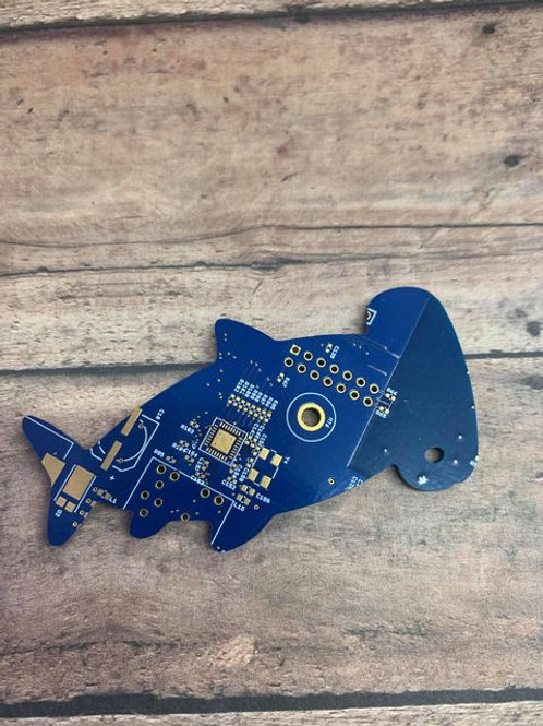 Recycled circuit board magnet - shark