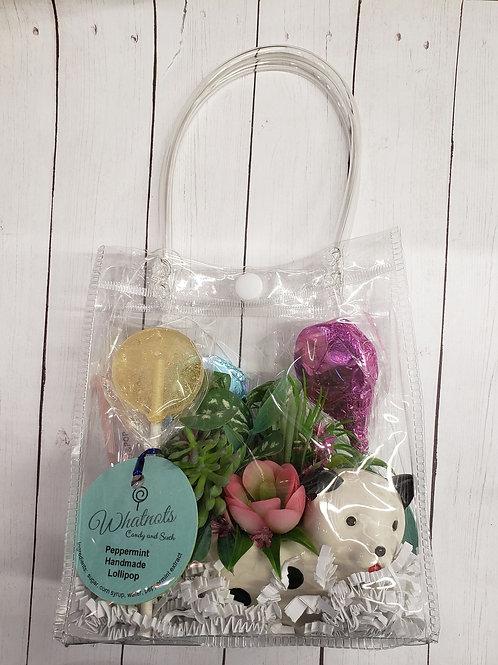 Floral dog planter with handmade lollipops
