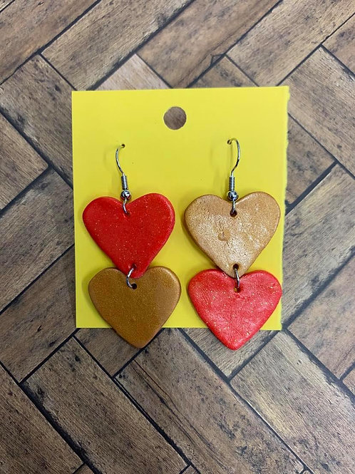 EARRINGS - Handmade Polymer Clay Heart Dangle