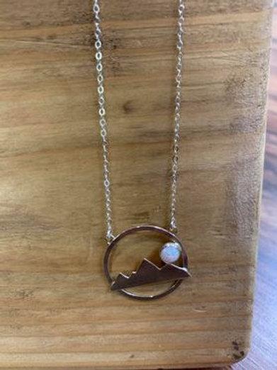 Opal Mountain Scene Necklace