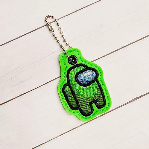 ZIPPER PULL - Green Among Us Character Keychain