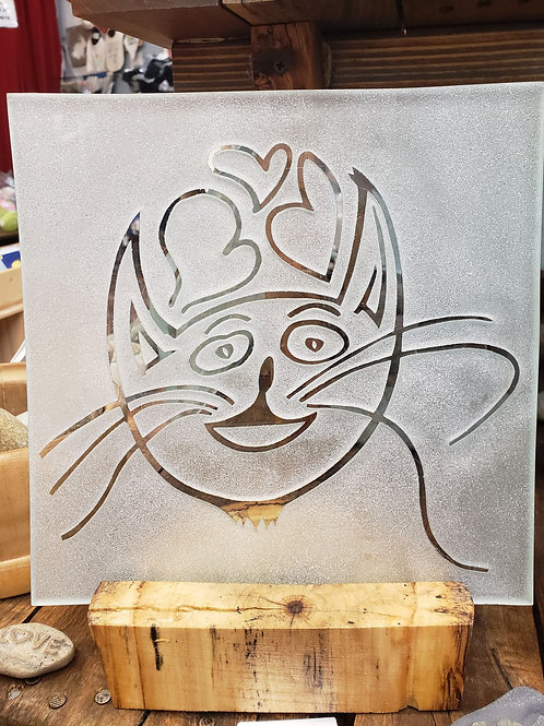 Reverse etched glass - Cat