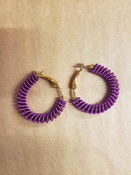 EARRINGS - Purple Wire Hoop
