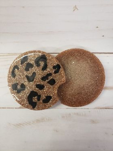 CAR COASTERS-Leopard Print