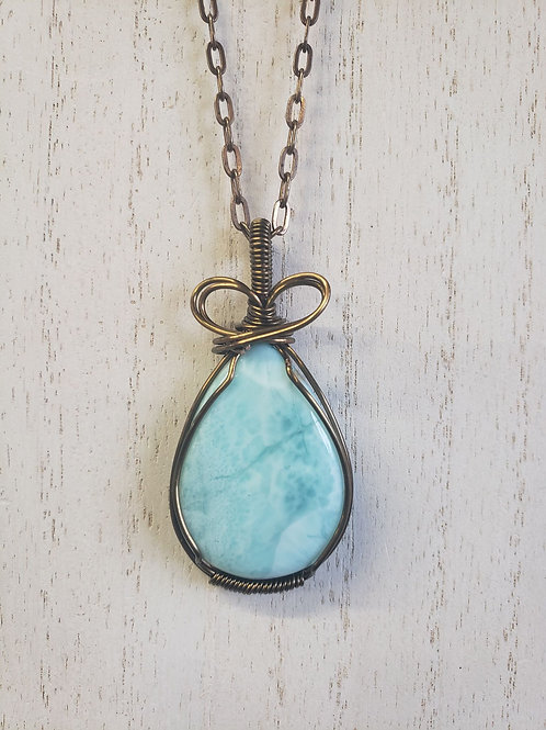 Hand-wrapped wire Larimar necklace