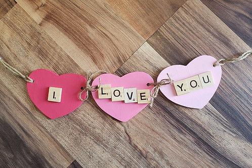 Valentines decor - I love You garland