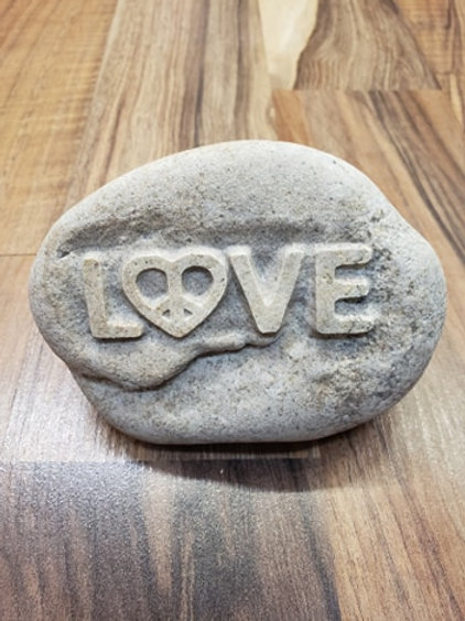 Reverse etched rock - Love