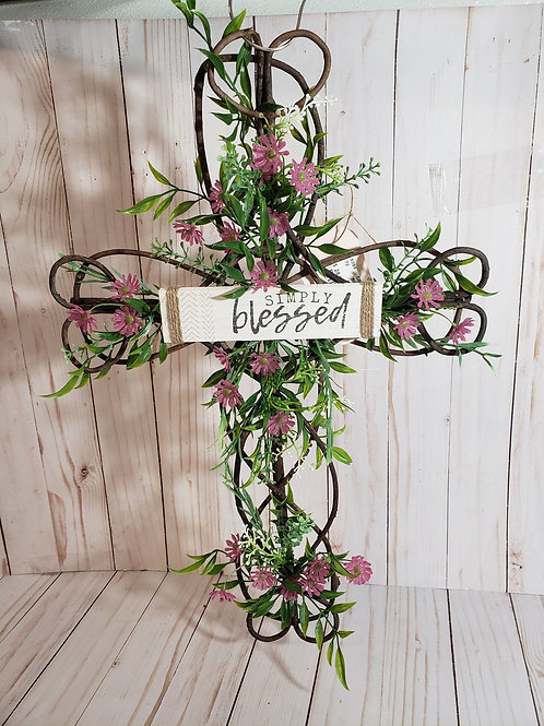 Simply Blessed Cross Wreath