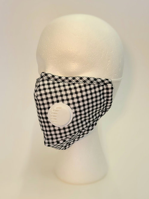 FACE MASK with valve - BL/W Plaid