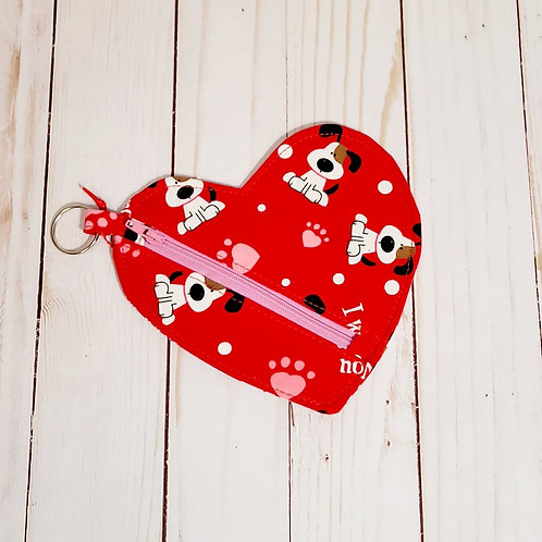 Valentine Dogs Heart Shaped Pouch
