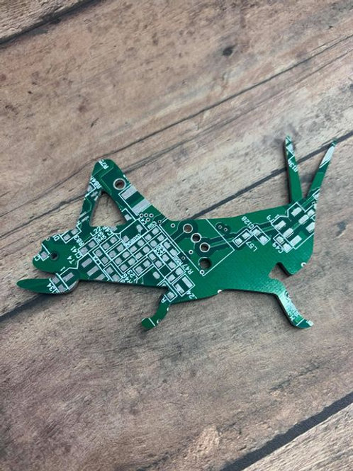 Recycled circuit board magnet - grasshopper