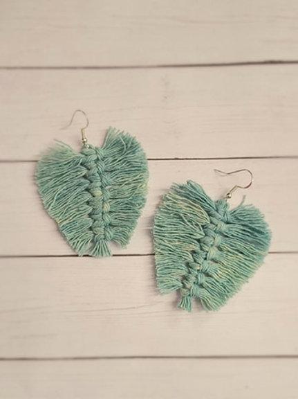 MACRAME Leaf Style Earrings - Light Blue/Green
