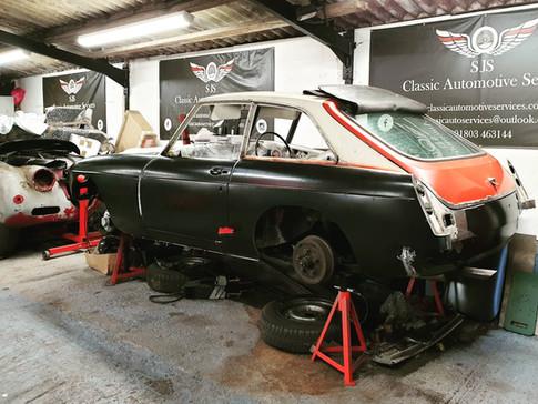 MGC GT Undergoing body work restoration