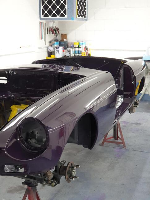 MGB Roadster bare metal respray after body restoration