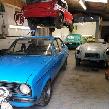 Selection of Classics in for work at SJS Classic Automotive Services