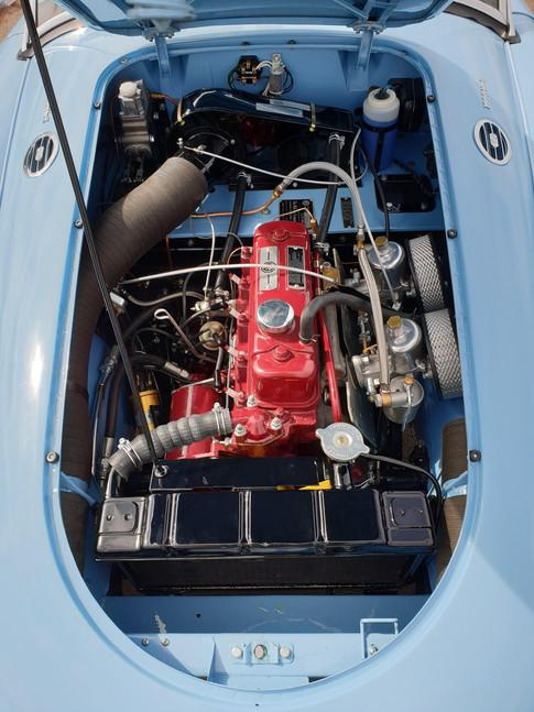 Detailed shot of completed MGA engine rebuild.