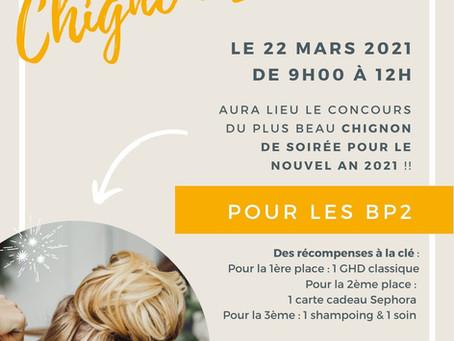 Concours Chignon pour nos BP2 et concours transformation pour nos BP1 - 22 MARS 2021