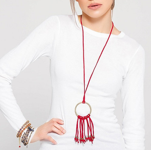 Red suede boho necklace