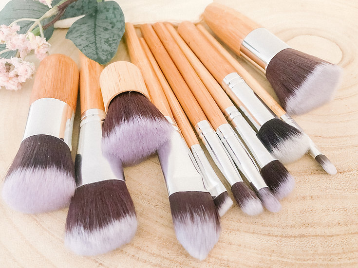 natural handmade bamboo makeup brushes