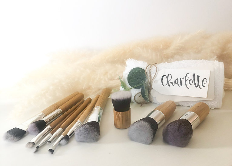 handmade bamboo makeup brush set with personalised gift tag