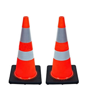 PVC Road Cones with Relective & Black Base