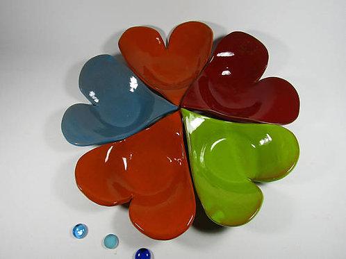 Lot de 5 assiettes coeur