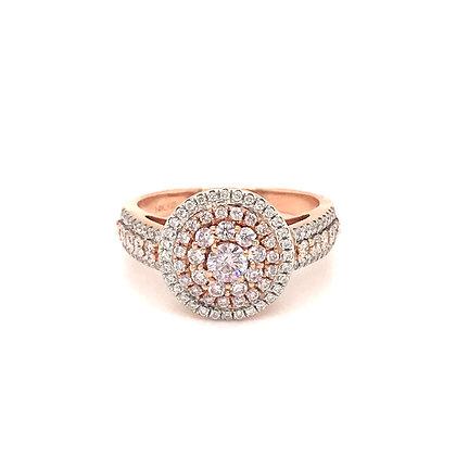 GR53181-PW-XX 14KT PINK & WHITE DIAMOND RING 0.88