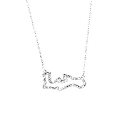 """14KW CAYMAN OUTLINE MAP NECKLACE SM 0.34CT DIA 18"""""""