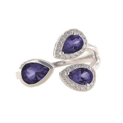 14K White Gold Diamond and Tanzanite Three Stone Ring