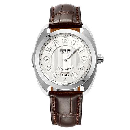 Hermes Watches Dc17 -Dressage Heure Masquee Acier Cadran Argente