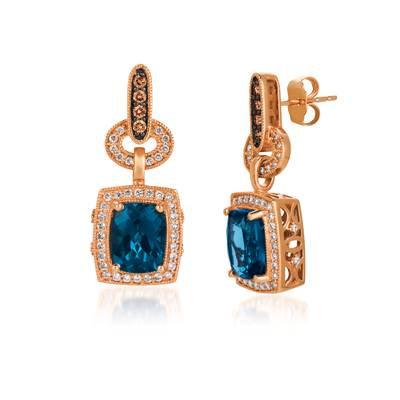 LEVIAN 14K R/G Earrings 8 Rd Cut 0.160Cts Dia 86 Rd Cut 0.47Cts 4.40Cts