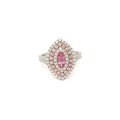 SDR54677-PAD1-XX 14K TWO TONE PINK & WHITE GOLD RING