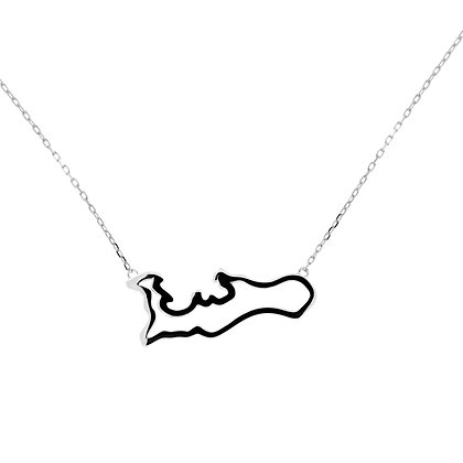 14KW CAYMAN OUTLINE MAP NECKLACE LG 18""