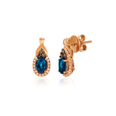 LEVIAN 14K Deep Sea Blue Topaz Earrings Bt 1.00Ct Diamond 0.17Tcw