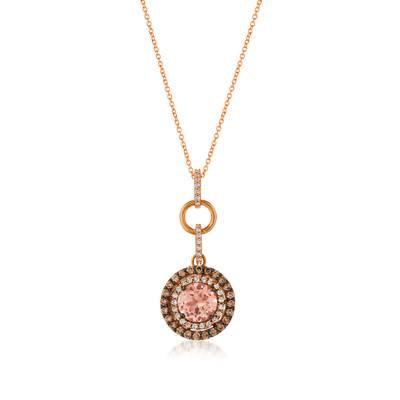 LEVIAN 14K Strawberry Gold Peach Morganite 1.40Ct Pendant W/ 0.90Ct Diamonds