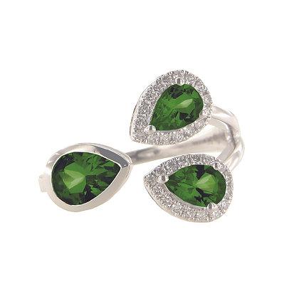 14k White Gold Diamond and Tashmarine Diopside Three Stone Ring