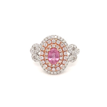 SDR54691-PAD1-XX 14K TWO TONE PINK & WHITE GOLD RING