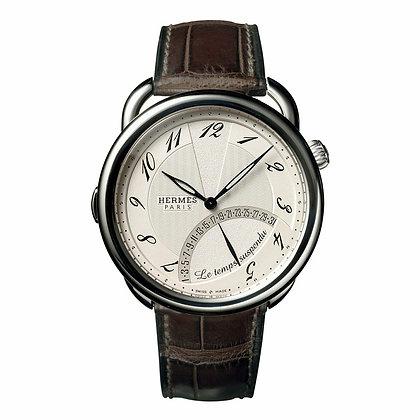 Hermes Watches C- Arceau Ss Auto Sil Dial Havana Allig Strap