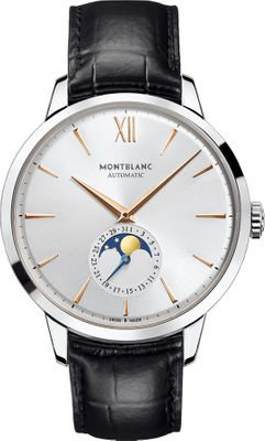 Montblanc Watches Dc19 Heritage Spirit Automatic Silvery-Wht Dial Blk Allig