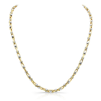 14K 2-TONE CAYMAN LINK CHAIN (Please select link size and chain length)