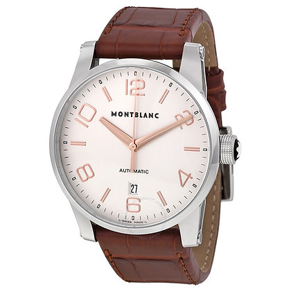 Montblanc Watches Dc19 Time Walker Automatic Silver Dial Brown Leather Strap