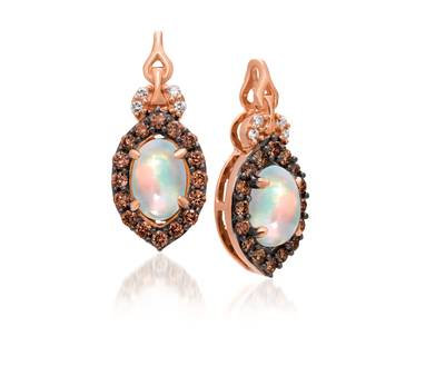 LEVIAN 14K Neopolatin Earrings Opal 0.60Ct Diamonds 0.28Tcw