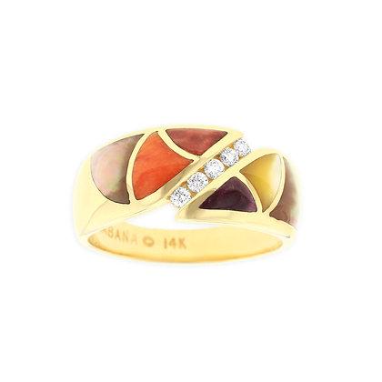 KABANA 14Ky Ring W Inlay Mixed Mop & Spiny .12Tw