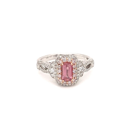 SDR54682-PAD-XX 14K TWO TONE PINK & WHITE GOLD RING